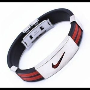 Stainless Steel Nike Silicone Bracelet